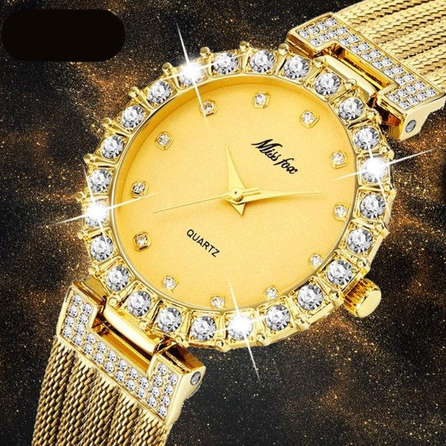 MISSFOX Women Watches Luxury Brand Watch Bracelet Waterproof Big Lab Diamond Ladies Wrist Watches For Women Quartz Clock Hours