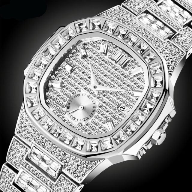 MISSFOX Iced Out Watches Men Top Brand Luxury Watch Men Full Diamond Quartz-watch Bling Bling Hiphop Hot Rapper's Jewelry Watch