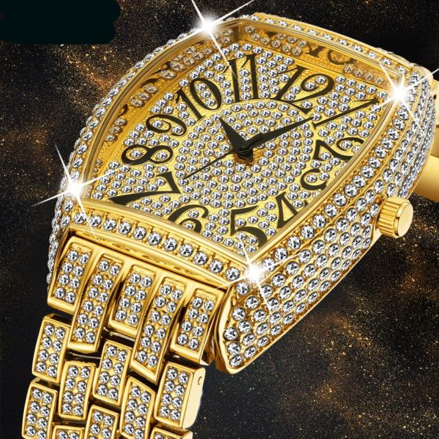 Mens Luxury Diamond Roman Numerber Quartz Wrist watch
